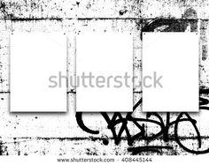 #Stock #photo: #three #nailed #blank #frames on #black and #white #graffiti #wall #background #shutterstock