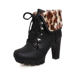 89402b918334 BeanFashion Womens Close Round Toe Platform Leopard Pattern Lace-up Closure Chunky  Heels Ankle High Boots