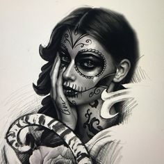 Day Of The Dead Girl, Day Of The Dead Skull, Graffiti Tattoo, Gangsta Tattoos, Dark Art Photography, Chicano Art, Tattoo Sketches, Heroines, Woman Face