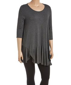 This Heather Charcoal Ruffle Tunic - Plus is perfect! #zulilyfinds