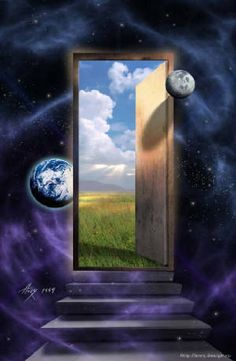 Portal in the Universe towards Earth. Connect with us Fantasy World, Fantasy Art, Past Life Regression, Mystique, Surreal Art, New Age, Oeuvre D'art, Cosmos, Doors