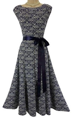 3X 22 24 NWT SEXY Women NAVY/WHITE FIT & FLARE DRESS w/Tie Summer PLUS SIZE NEW #HAANI #FitFlare #Versatile