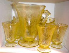 "Depression glass topaz ""Florentine"" beverage set"