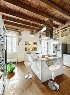 20 moderne Kücheninsel Designs - ländlich küche insel holz dach weiss ausstattung einrichtung