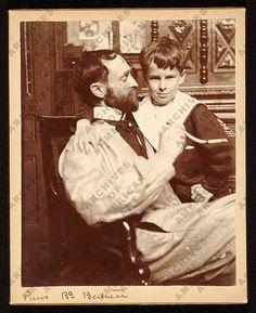 Painter John White Alexander and his son, James in a Paris studio. 1892 - 1898