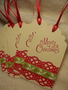 Scrapbook Christmas Gift Tags - Bing Images I like the simplicitiy Diy Christmas Tags, Holiday Gift Tags, Christmas Gift Wrapping, Handmade Christmas, Christmas Present Tags, Holiday Deals, Simple Christmas, Christmas Ideas, Merry Christmas