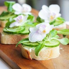 Retro Open Faced Cucumber Sandwiches on Gluten Free Baguette (plus, orchid garnish)!
