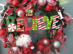 Believe in Santa Christmas Wreath - Red, white, green, silver. $125.00, via Etsy.