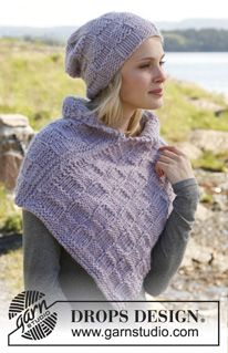 """Lilac Weave - Knitted DROPS hat and neck warmer in """"Eskimo"""". - Free pattern by DROPS Design"""