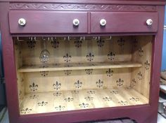 Inside of wine dry sink. French themed.