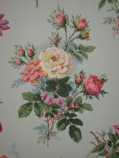 Blossoms Wall Tapestry Fabric Wallpaper Home Size - Home Style Corner Striped Wallpaper, Print Wallpaper, Fabric Wallpaper, Flower Wallpaper, Tapestry Fabric, Wall Tapestry, Vintage Walls, Vintage Flowers, Vintage Floral Wallpapers