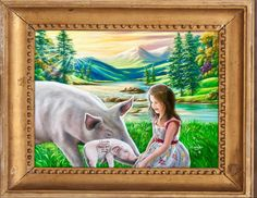 """'""""I love you💝Please don't eat my mommy"""" painted by Jean Cathcart. 😇😇😇❤️❤️❤️💚💚💚🐖🐖🐖🐖' created in #neybers"""