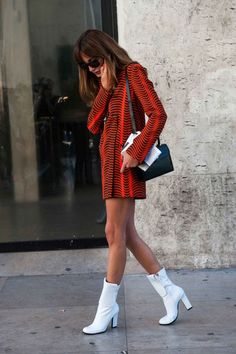 Every girl needs a pair of white boots for the fall.