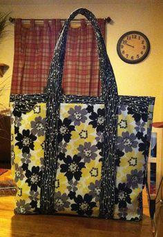 Yellow Gray Floral Tote Bag Purse, Handmade Handbag, Spring