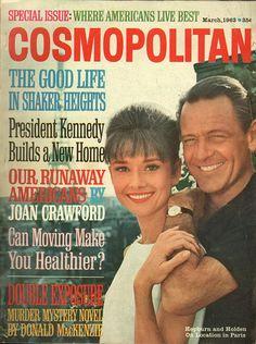"Cosmopolitan magazine, MARCH 1963 Audrey Hepburn & William Holden on cover promoting film ""Paris When It Sizzles"""
