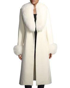 Long-Sleeve Fur Collar & Cuffs Wool-Cashmere Coat Fashion 2017, Luxury Fashion, Duster Coat, Fur Coat, New York Winter, Fabulous Furs, Cashmere Coat, Collar And Cuff, Fur Collars