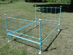 Antique Wrought Iron Pencil Rod Bed... but in white