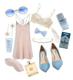 """""Pale blue eyes"""" by chlorineprincess ❤ liked on Polyvore featuring Prada, I.D. SARRIERI, Jennifer Behr, Moschino, Slip, Estée Lauder, GAS Jeans and aesthetic"