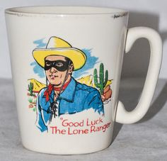THE LONE RANGER 1961 Vintage Children's Ceramic Cup by Keele St. Pottery, RARE!!!