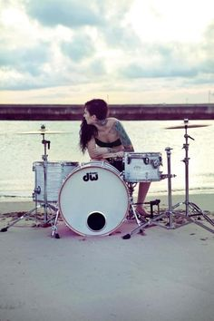 Great setting for a drumkit - drums set in the white sand along a beach!