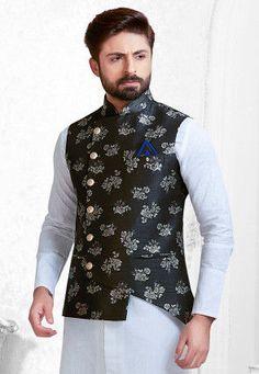 Woven Art Silk Jacquard Asymmetric Nehru Jacket in Black Nehru Jacket For Men, Nehru Jackets, Kurta Pajama Men, Kurta Men, Blazer Outfits Men, Stylish Mens Outfits, Wedding Dress Men, Wedding Men, Indian Men Fashion