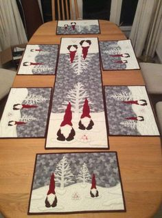 Patchwork Christmas Table Runner Place Mats 23 Ideas – Famous Last Words Quilting Beads Patterns Quilted Table Runners Christmas, Christmas Patchwork, Christmas Placemats, Christmas Runner, Table Runner And Placemats, Table Runner Pattern, Christmas Gnome, Christmas Sewing, Christmas Projects