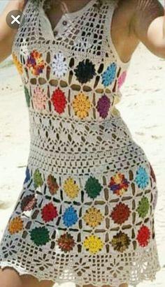 How to Crochet a Bodycon Dress/Top Débardeurs Au Crochet, Crochet Tunic Pattern, Hippie Crochet, Crochet Cover Up, Crochet Shawl, Top Pattern, Knitting Patterns, Crochet Patterns, Crochet Cardigan