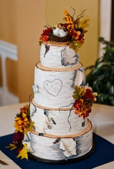 Birch Style Cake with Love Bird Topper | Autumn Cakes