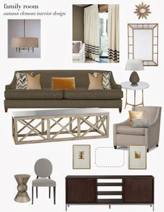 design plan: neutral family room, mirrors stacked, abstract art, curtains with striped trim, jonathan adler chandelier, cow hide pillows, touches of gold