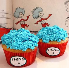 Dr. Seuss thing 1 & thing 2 cupcakes