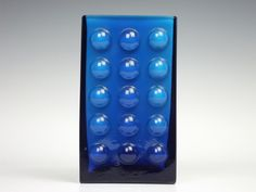 Friedrich blue cased hobnail glass vase from the 1960's