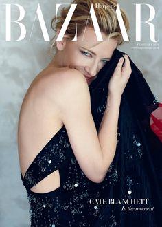 Cate Blanchett wears #GiorgioArmani on the subscribers' edition cover of Harper's Bazaar UK.