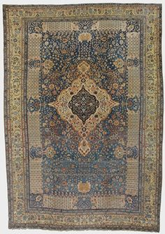 Mohtashem Persian Kashan Carpet, Antique from Persia