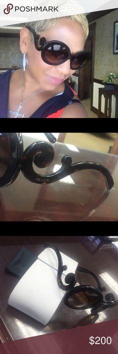 PRADA Sunglasses! Minimal Baroque model.  Round tortoiseshell frame.  Brown gradient lenses. Prada Accessories Sunglasses