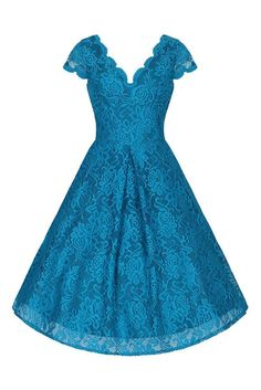 Turquoise Blue Embroidered Lace V Neck Capped Sleeve 50s Swing Dress