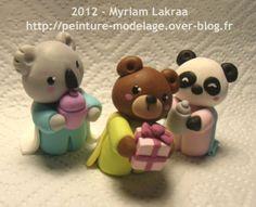 """""""Fabriquer ses décos de Noël soi-même"""" - Crèche kawaii, les rois mages - Myriam Lakraa Créations 2012 - Pâte polymère Fimo (polymer clay nativity - ornament - bear, panda, koala)"""
