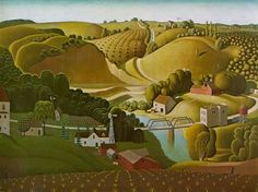 Once my attention was truly piqued concerning Grant Wood I wanted to go to Cedar Rapids, Iowa. Although Grant Wood spent his first years growing up on a farm in Anamosa (a short distance from Stone… Jan Van Eyck, Pablo Picasso, Landscape Art, Landscape Paintings, Gothic Landscape, Grant Wood Paintings, Art Paintings, Artist Grants, Stone City