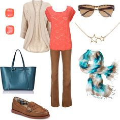"""Coral and blue"" by jossiebristow on Polyvore"