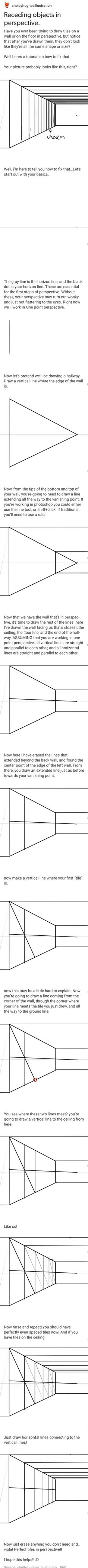 I learned this I art class way back but it's really helpful tool>>> i learnt the thing with the perspective lines and horizon line but the tiles thing i didnt so this is really helpful