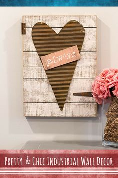 Adorable this distressed wood industrial art looks amazing. Simply charming for a bedroom, living room, bathroom or even kids room. Industrial wall decor like this is popular and rare. #industrial #wall #interior #design #decor #pallet #plank #wood #love #heart #distressed #barnwood