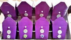 16 Purple baby shower party gift boxes  unisex baby shower