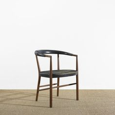 Jacob Kjaer; Teak and Leather 'UN' Chair for Jacob Kjaer Møbelhaandvaerk, 1949.