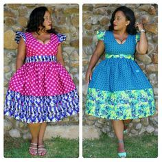 Plus size African Fashion Seshweshwe and African Print mix gathered dress. African Lace Dresses, African Fashion Dresses, African Clothes, Ankara Fashion, African Attire, African Wear, African Style, African Women, Vitenge Dresses