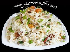 Spring Onion Pulao - ఉల్లికాడలతో పులావు - గాయత్రి వంటిల్లు -    Click here for the Recipe - http://www.gayatrivantillu.com/recipes-2/cereal-items/spring-onion-pulao   Enjoy!!