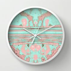 Mint and pink wall clock.