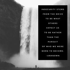 Insecurity stems from the drive to be what others expect us to be rather than the pursuit of who we were born to become. - Unknown