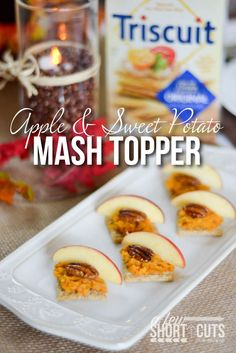 A perfect simple holiday appetizer recipe! You must try these yummy Apple & Sweet Potato Mash Toppers!