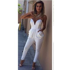 Sexy Solid Color Strapless Jumpsuit For Women Strapless Jumpsuit, Backless Maxi Dresses, Sexy Dresses, Short Beach Dresses, Vestidos Sexy, White Jumpsuit, Black Playsuit, Mode Outfits, Jumpsuits For Women