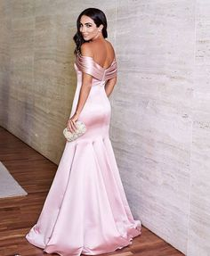 pink satin long mermaid prom dresses off the shoulder evening gowns Cheap Prom Dresses, Pageant Dresses, Cute Dresses, Bridesmaid Dresses, Mermaid Evening Dresses, Evening Gowns, Lace Dress Black, Pink Dress, Formal Gowns