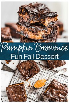 Pumpkin Brownies are an easy fall dessert recipe perfect for Halloween or Thanksgiving. Add a layer of pumpkin to your brownies for something fun and delicious! #brownies #pumpkin #fall #halloween #thanksgiving #dessert via @beckygallhardin